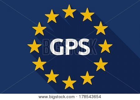 Long Shadow Eu Flag With  The Global Positioning System Acronym Gps