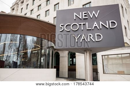 LONDON, UK - 8 MARCH 2017: London Metropolitan Police, New Scotland Yard. The iconic New Scotland Yard sign the home of the London Metropolitan Police on its new site on Victoria Embankment Westminster.