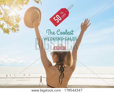 young women tourist happiness with weekend big sale promotion discount deal last summer.