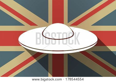 Long Shadow Uk Flag With  A Flying Saucer Ufo