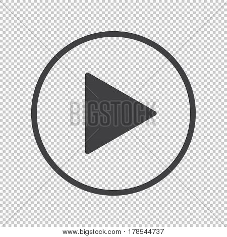 Play buuton vector icon on transparency background