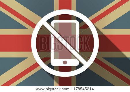 Long Shadow Uk Flag With  A Phone  In A Not Allowed Signal