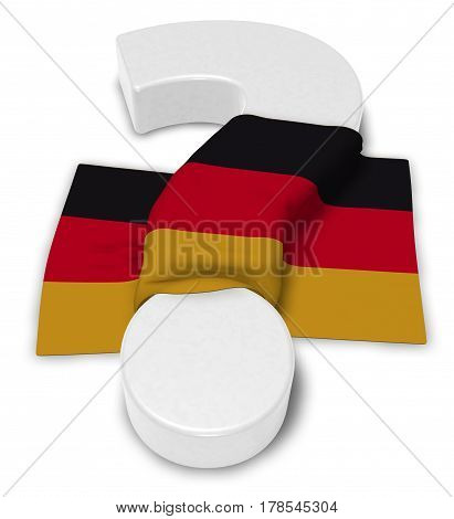 question mark and flag of germany - 3d illustration