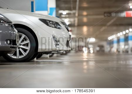 Underground japan white car parking garage in door