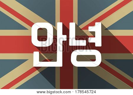 Long Shadow Uk Flag With  The Text Hello In The Korean  Language