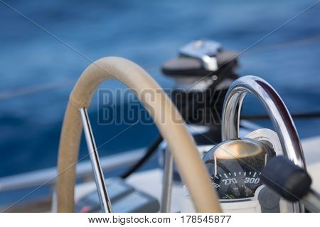 Compass detail of a sailing boat in mediterranean sea