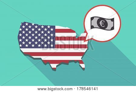 Long Shadow Usa Map With  An Euro Bank Note