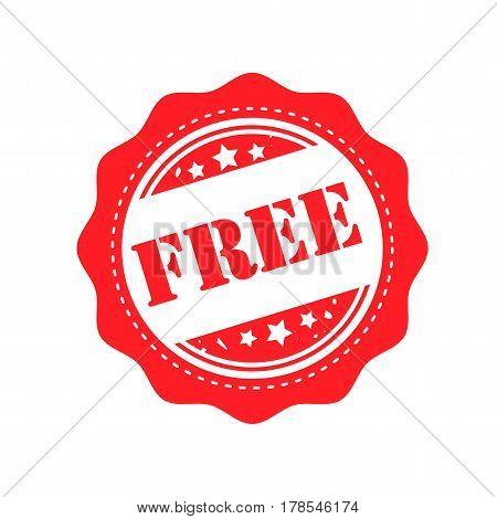 free. stamp. sticker. red round grunge free sign