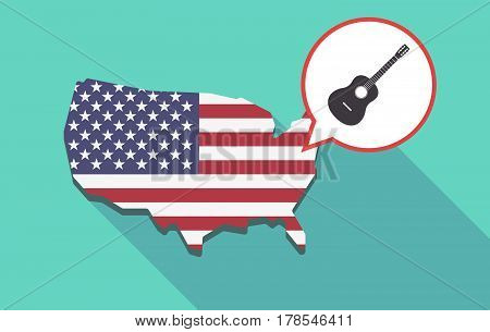Long Shadow Usa Map With  A Six String Acoustic Guitar
