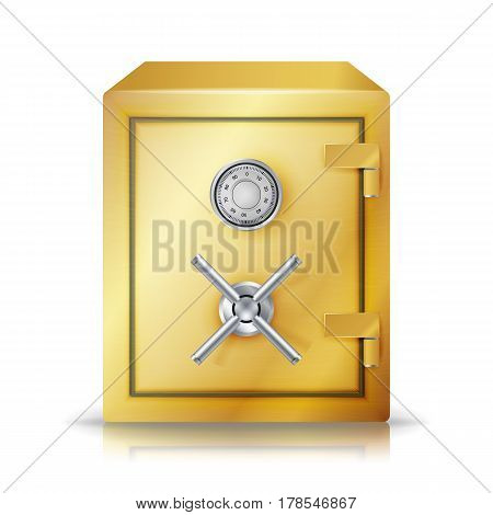 Metal Safe Realistic Vector. Combination Lock. Vector Illustration. Front View. Safety Deposit Box