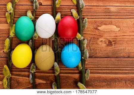 Painted Easter Colorful Eggs With Willow, Osier