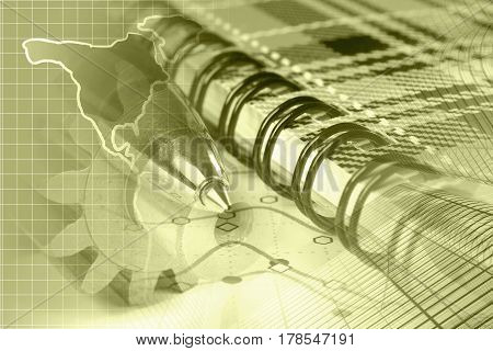 Financial background in sepia with map graph and pen.