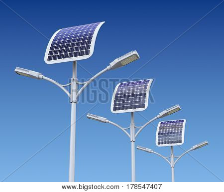 Row of LED street lamp with solar panel - 3D illustration