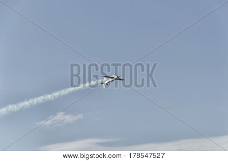 View of inverted flight during an airshow