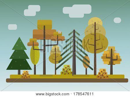 Flat Style Autumn Forest on Dark Storm Background