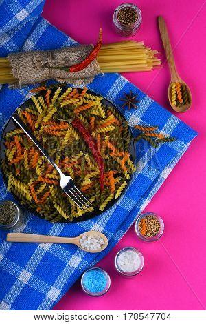 Colorful Dried Fusilli And Spaghetti Pasta