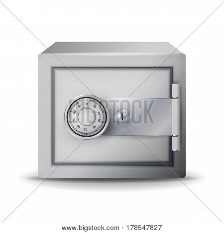 Metal Safe Realistic Vector. Safe Deposit. 3D Illustration Of A Safe Or Safety Deposit Box