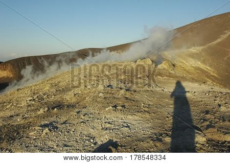 The fumaroles on the crater of the volcano