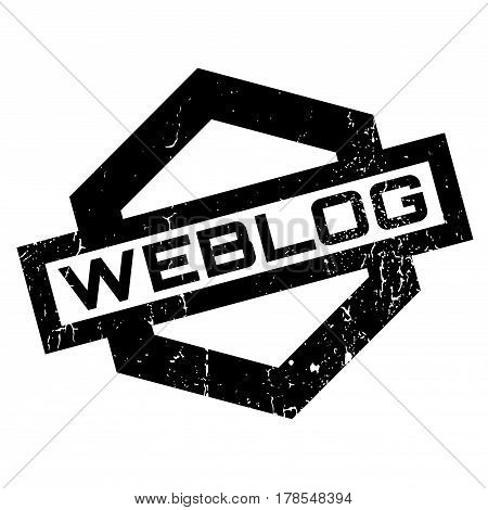 Weblog rubber stamp. Grunge design with dust scratches. Effects can be easily removed for a clean, crisp look. Color is easily changed.