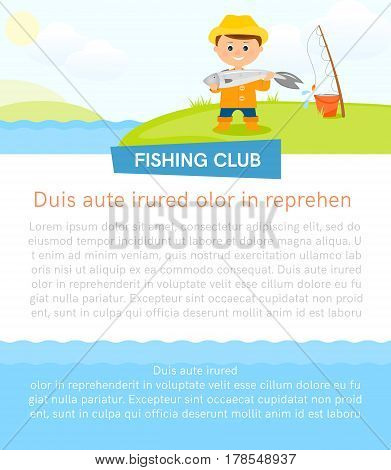 Poster with fisherman and fish.Banner with place for your text.Flat style.Vector illustration.