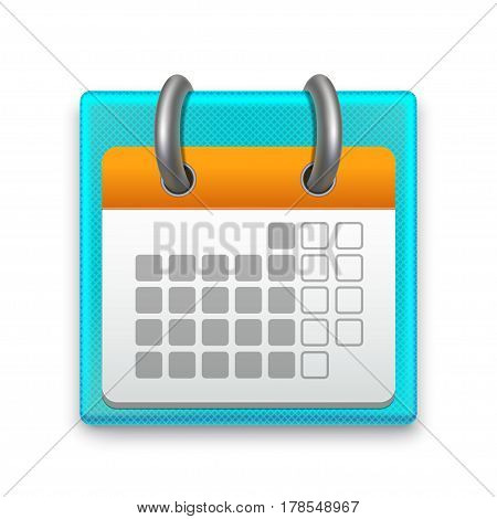 Realistic Detailed Calendar Month Stationery or Reminder Can Be Used for Business. Vector illustration