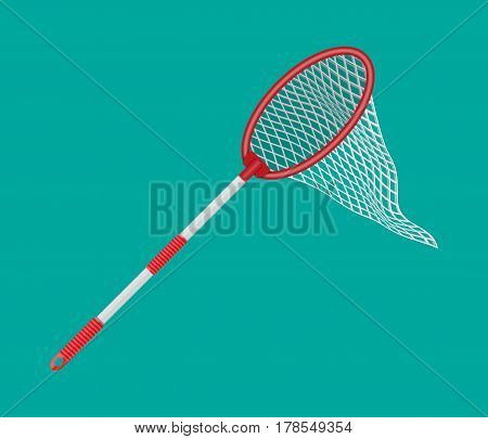 Butterfly net with plastic handle. Vector illustration in flat style