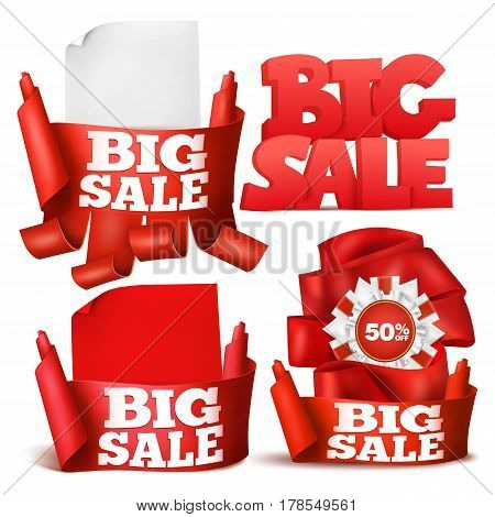 Set of design elements. Big sale concept collection. Vector illustration.