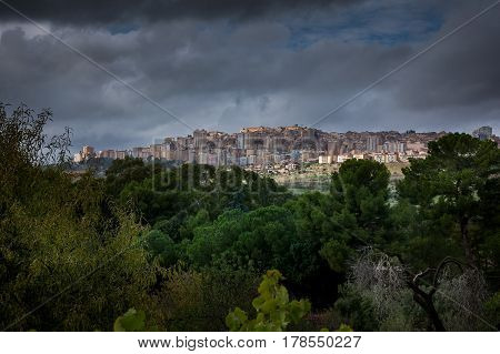 Agrigento, Italy - October 15, 2009: View Of Agrigento From Valley Of The Temples