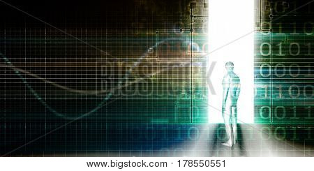 Technology Background with Man Looking into Doorway 3D Illustration Render