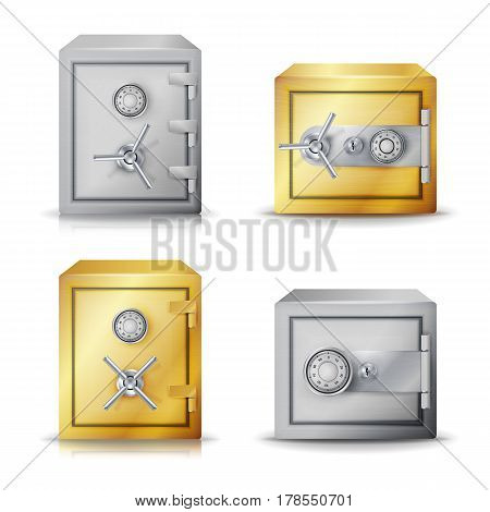 Metal Safe Realistic Vector. Set Realistic Steel safe. Front View.