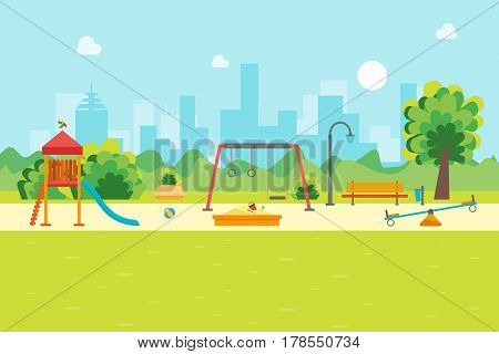 Cartoon Urban Park Kids Playground for Game and Activity, Flat Design Style. Vector illustration
