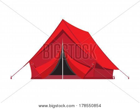 Camping tent. Tourism, travel, vacation and sport. Vector illustration in flat style