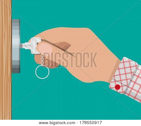 Key in hand opens wooden door. Vector illustration in flat style