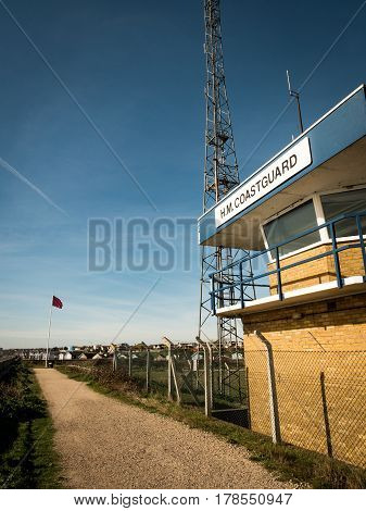 A UK coastguard lookout post on the northern banks of the Thames Estuary in Essex England.