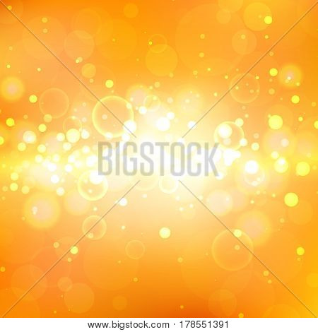 Shining orange background with light effects. Golden burst. Magic defocused glitter sparkles. Blurred soft backdrop. Vector illustration. EPS10