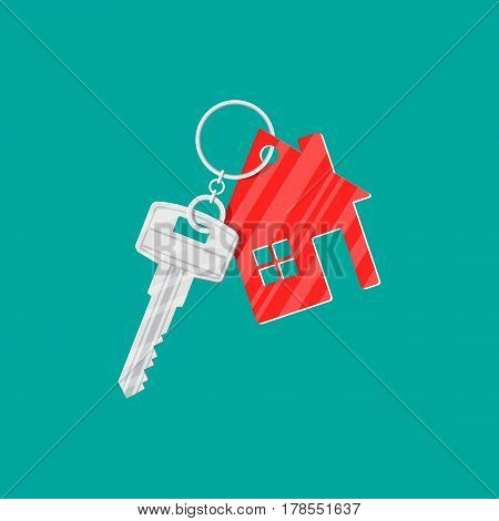 Metal key with keychain house in flat style. Buy, rental or lease a house. Vector illustration