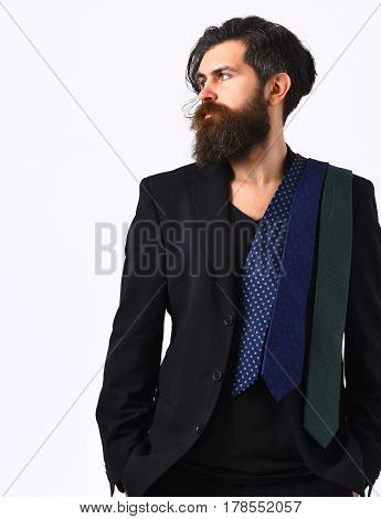Brutal Caucasian Hipster In Black Suit With Ties On Shoulder
