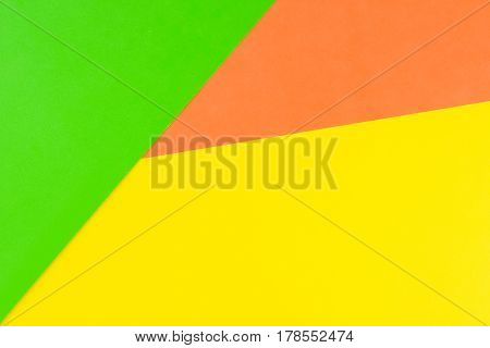 Paper color yellow, orange and green abstract background
