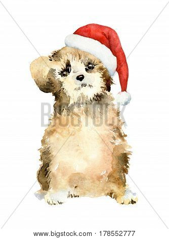 Cute puppy golden brown color in red Christmas cap on white background. Dog is symbol of 2018. Watercolor illustration