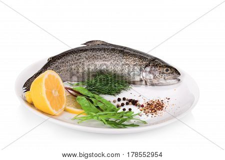 Rainbow Trouts With Lemon And Greens Isolated On White Background