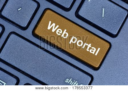 Web portal words on computer keyboard button