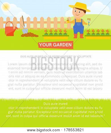 Smiling gardener with seedling. Poster with smiling gardener with seedling. Banner with place for your text.Flat style.Vector illustration.