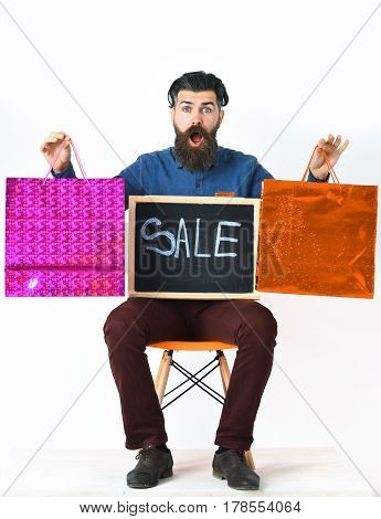 Bearded Man, Brutal Caucasian Hipster With Moustache Holding Shopping Packages