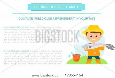 Poster, banner with fisherman and fish. with place for your text.Flat style.Vector illustration.