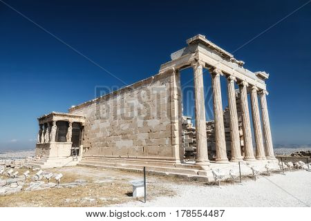 Erechtheum temple ruins on the Acropolis in Athens, Greece