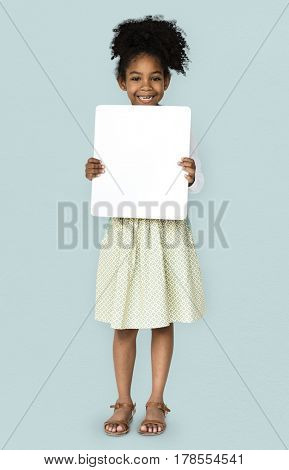 African Descent Girl holding Placard