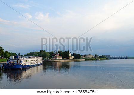 UGLICH RUSSIA - JULY 19 2016: Three-deck cruise ship