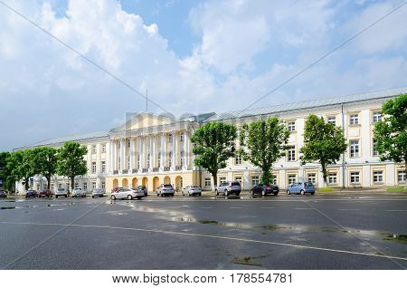 YAROSLAVL RUSSIA - JULY 21 2016: Building of former Provincial Presence Places on Sovetskaya Square Yaroslavl Golden Ring of Russia