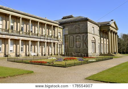 Tatton Park Cheshire England UK Europe - March 27 2017 : The south face of Tatton Hall in Cheshire