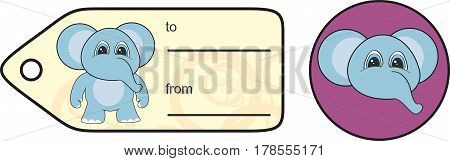 sweet little chubby elephant cartoon gift card in vector format very easy to edit